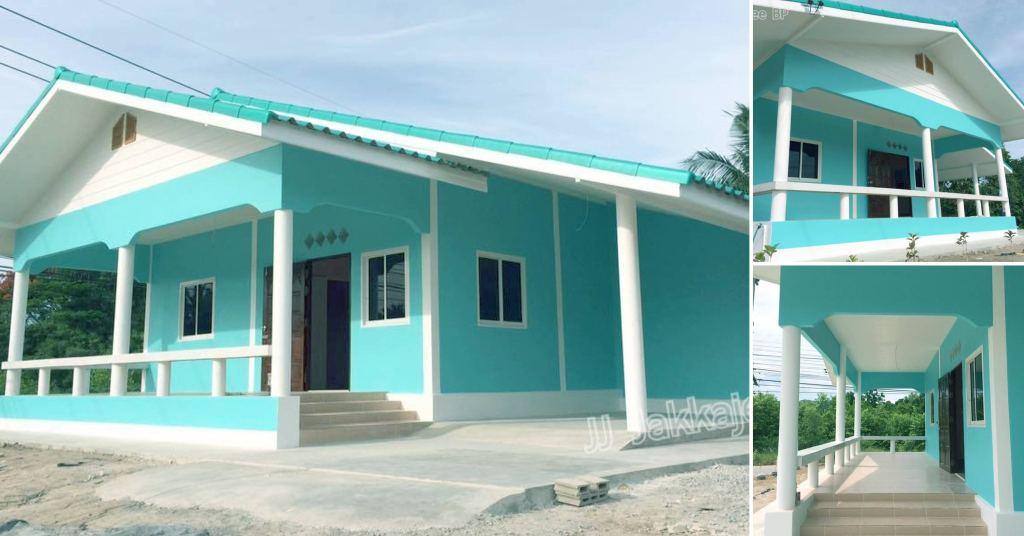 บ้านชั้นเดียวสไตล์ชนบท ตกแต่งในโทนสีฟ้าสดใส สบายตา ในงบ 530,000 บาท