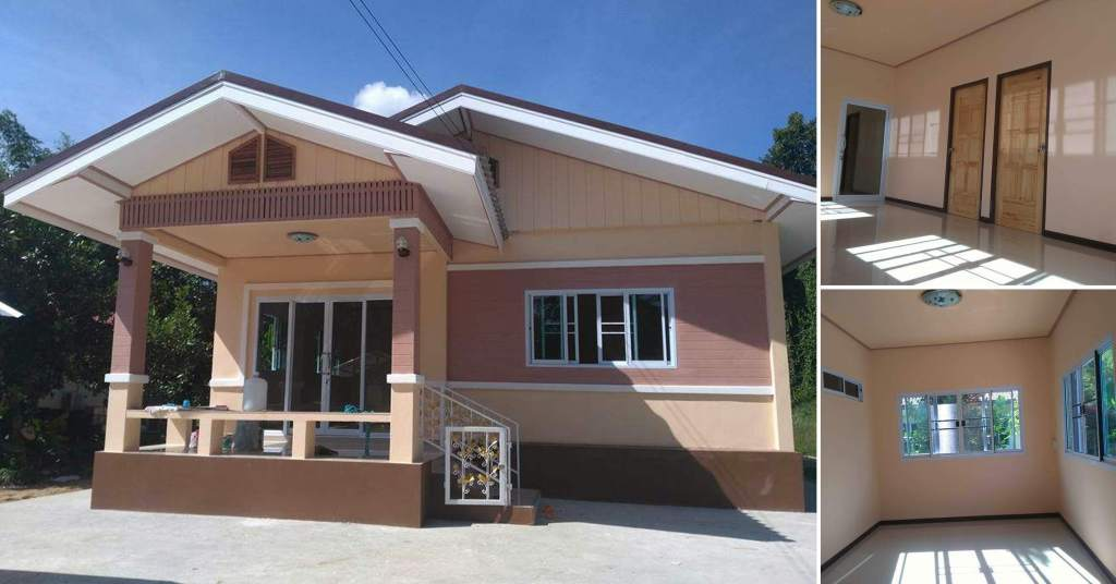 บ้านชั้นเดียว โทนสีอ่อนหวาน ดีไซน์ร่วมสมัย น่าพักผ่อน ด้วยงบ 820,000 บาท