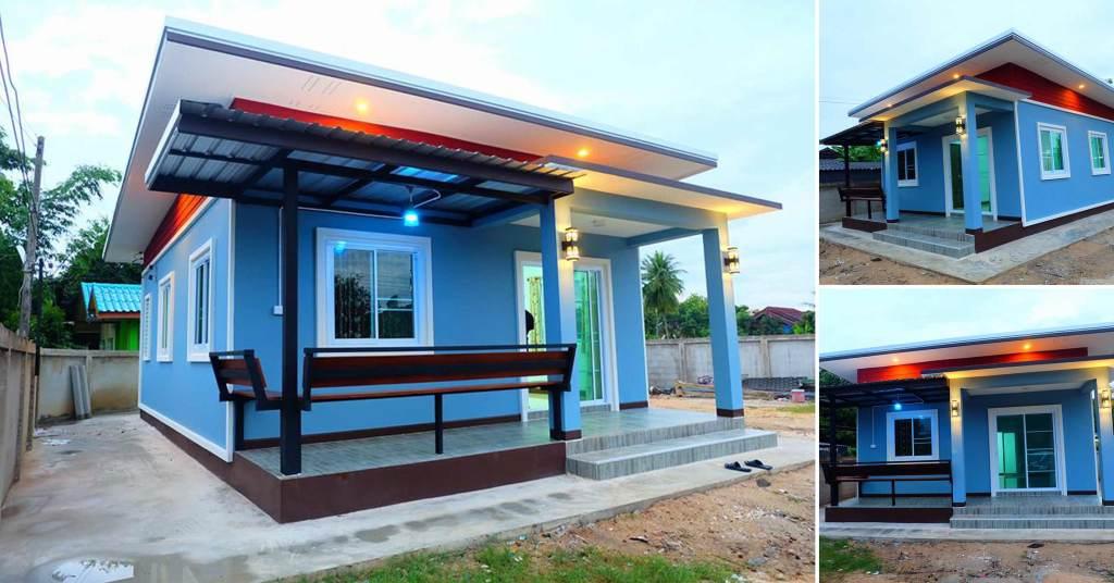 บ้านสไตล์โมเดิร์น ขนาดพออบอุ่น โทนสีฟ้า ในงบ 540,000 บาท