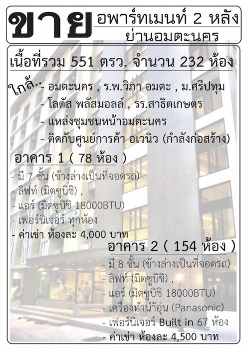 ขายอพาร์ทเมนท์ 2 หลัง จำนวน 232 ห้อง ย่านอมตะนคร