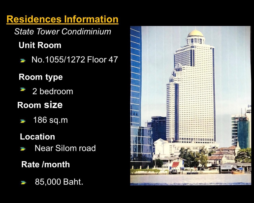ให้เช่าห้องในคอนโดสเตททาวเวอร์ อยู่ชั้น 47 เห็นทั้งวิวแม่น้ำเจ้าพระยาและวิวเมือง