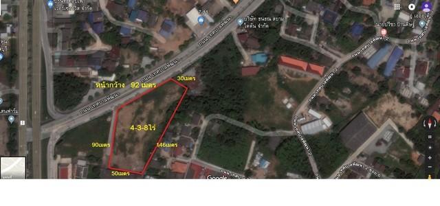 ขายที่ดินเปล่าติดถนนเลี่ยงหนองมน ใกล้ถนนสุขุมวิท หน้ากว้าง 92เมตร พื้นที่สีแดง อำเภอเมืองชลบุรี