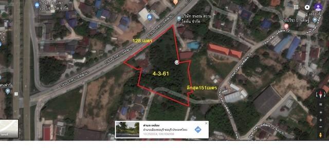 ขายที่ดินติดถนนเลี่ยงหนองมน ใกล้ถนนสุขุมวิท หน้ากว้าง 128เมตร พื้นที่สีแดง อำเภอเมืองชลบุรี