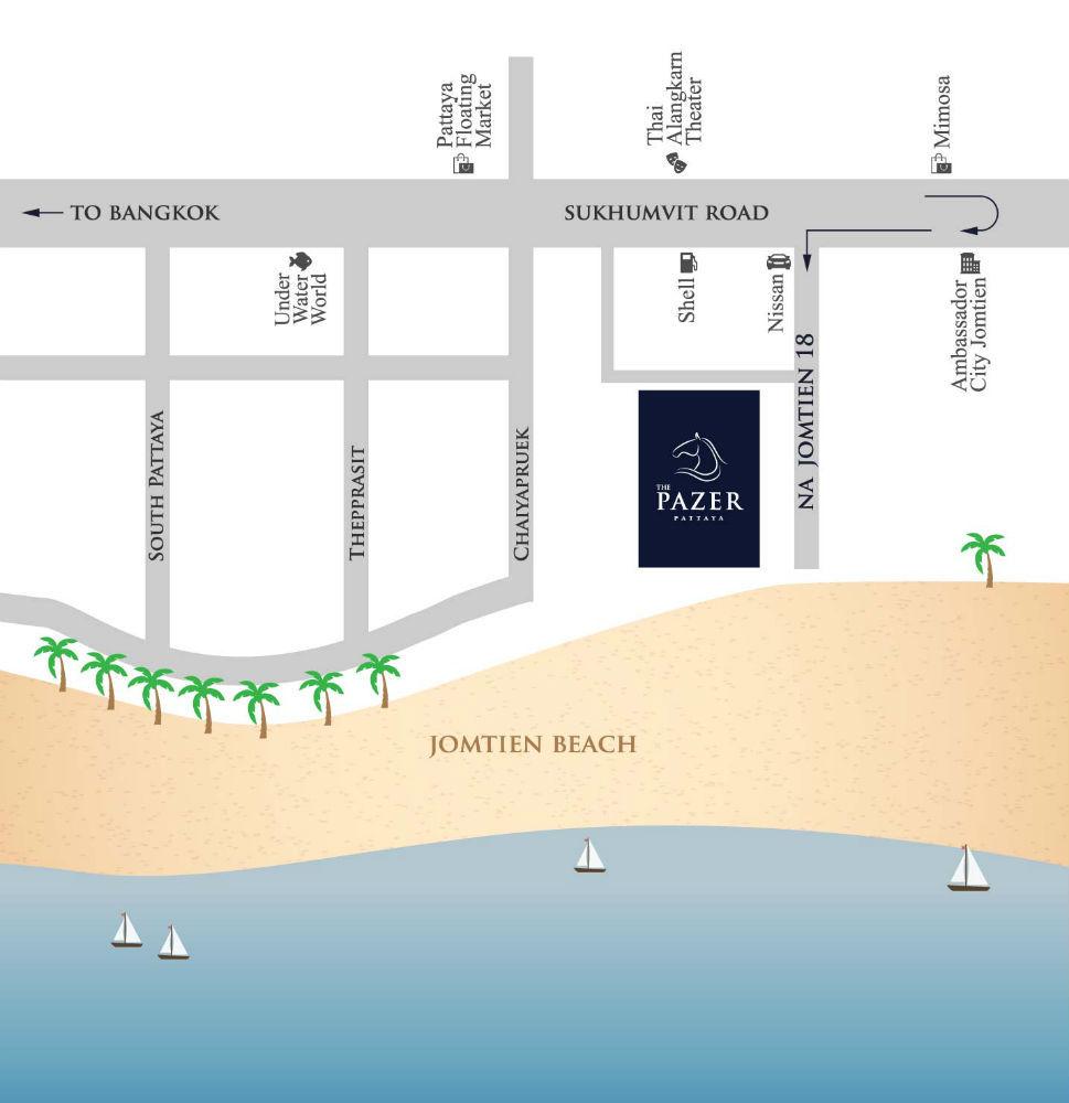 แผนที่ ขายคอนโดมิเนียมติดหาดจอมเทียน The Pazer Pattaya(เดอะเพเซอร์พัทยา)